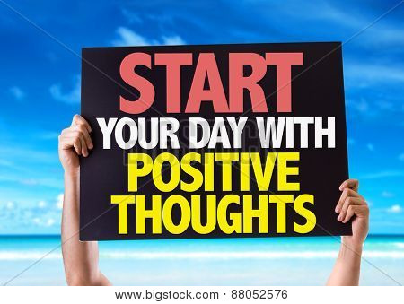 Start Your Day with Positive Thoughts card with beach background