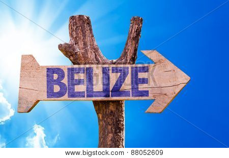 Belize wooden sign with sky background