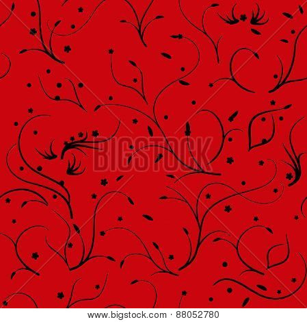 Seamless pattern with thin stems and flowers