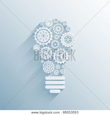 Digitally generated Light bulb made of cogs and wheels vector