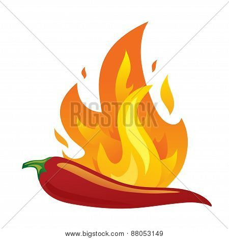 Isolated red hot chilli pepper with fire