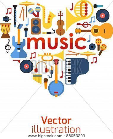Music Heart set vector.