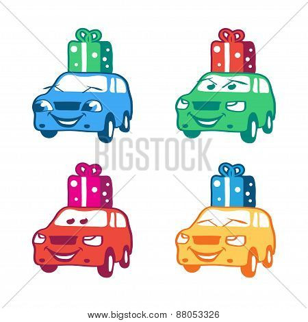 Collection of colored cartoon car with present box