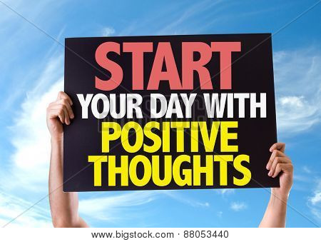 Start Your Day with Positive Thoughts card with sky background