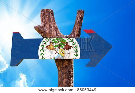 Belize Flag wooden sign with sky background