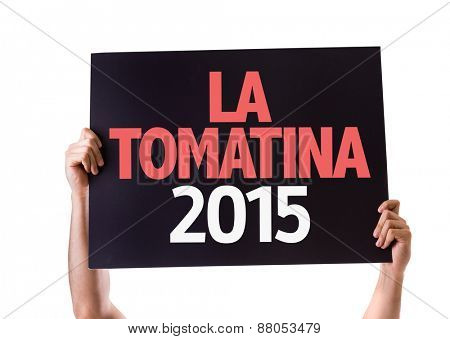 La Tomatina 2015 card isolated on white