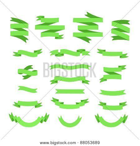 Green ribbons set.