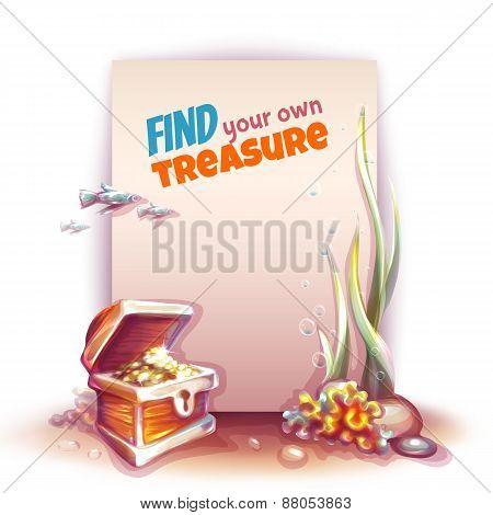 Vector banner with treasure chest in ocean