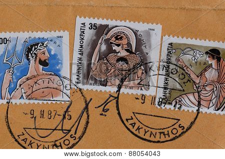 Ancient Greek Gods Postage Stamps