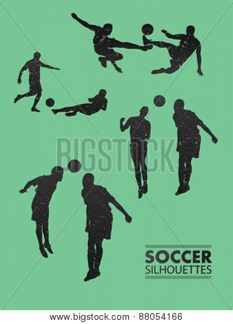Digitally generated Soccer silhouettes in green vector