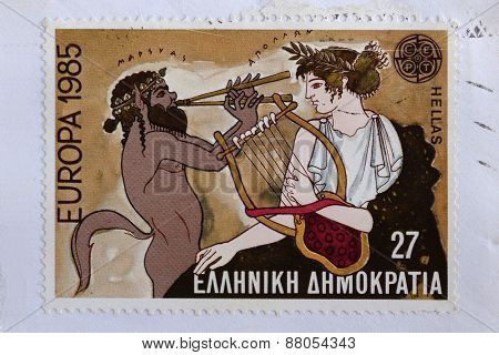 Apollo And Satyr Postage Stamp