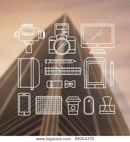Digitally generated Photography tools outline vector