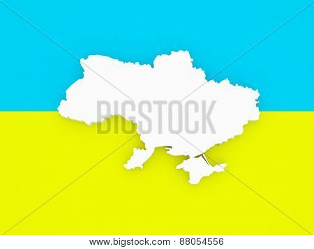 Three-dimensional map of Ukraine. 3d