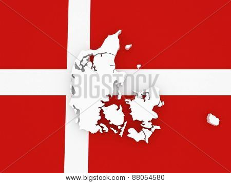 Three-dimensional map of Denmark. 3d