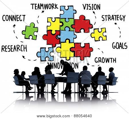 Teamwork Team Connection Strategy Partnership Support Puzzle Concept