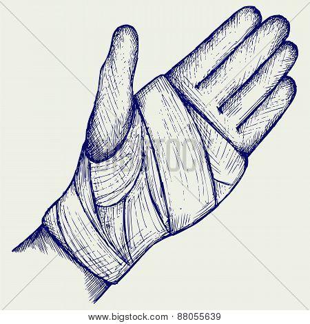 Hand tied elastic bandage