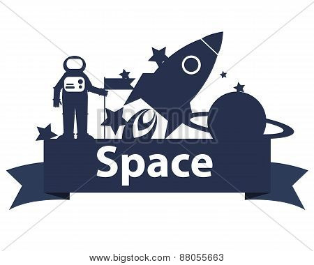 Space on the ribbon. Astronaut holding a flag and rocket. Vector illustration