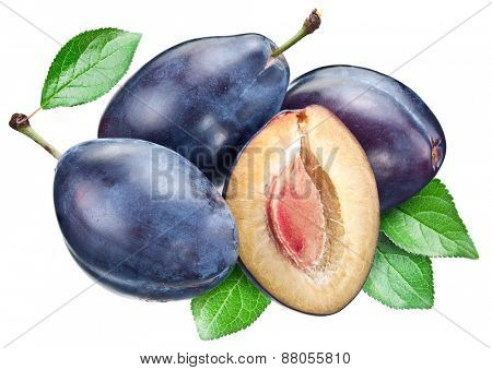 Three plums with leaf. File contains clipping paths.