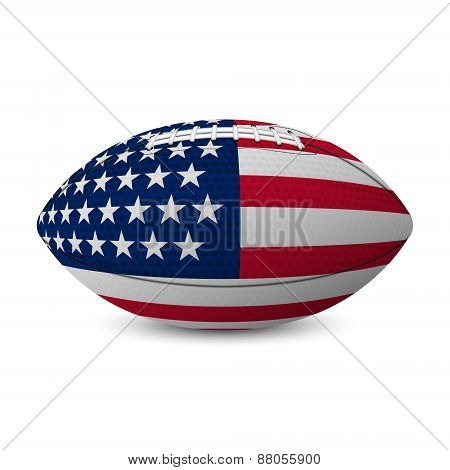 Football Flag Of Usa Isolated On White Background.