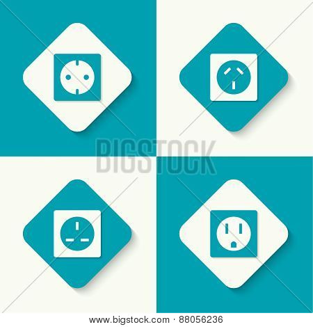 Set of vector icons electrical sockets