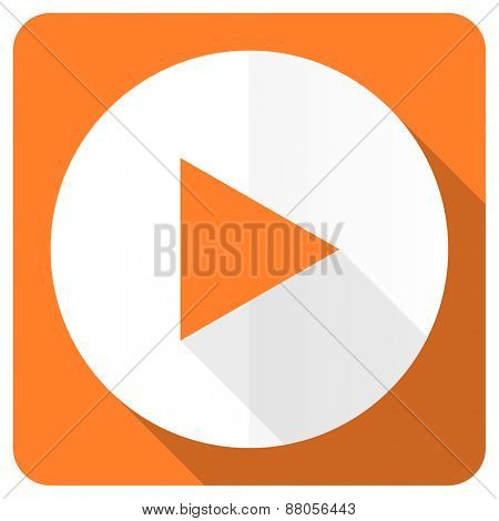 play orange flat icon
