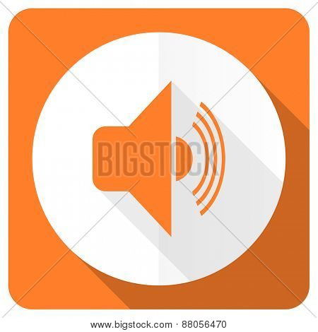 volume orange flat icon music sign