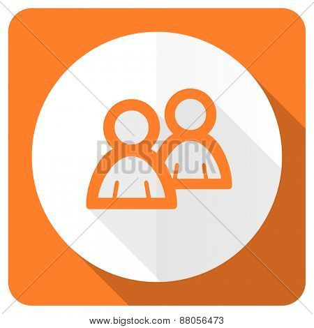 forum orange flat icon people sign