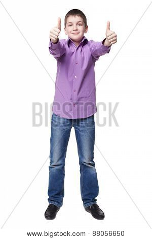 Young Boy Tumbs Up. Isolated On White Background