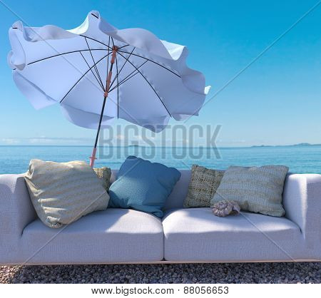 vacation concept background with interior elements and seashell