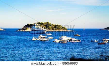 Hvar, Croatia - August 12: Many Boats And Yachts Anchored In The Summer Near The Island Of Hvar On A