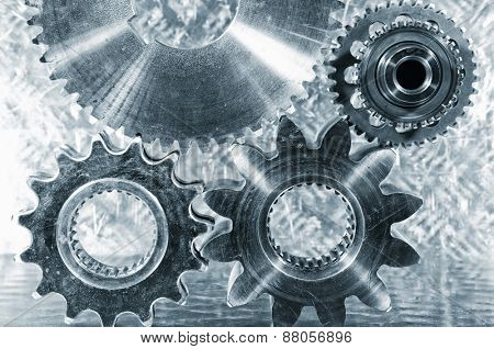 aerospace engineering cogwheels and gears,  titanium and steel parts