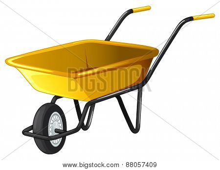 Close up yellow wheel barrow