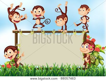 Banner with monkeys around the frame