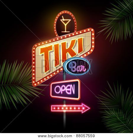 Neon Sign. Tiki Bar