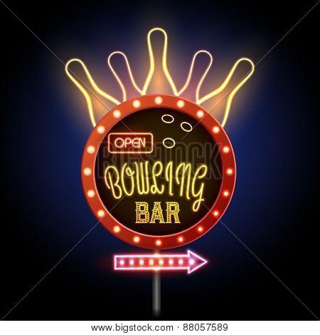 Neon Sigh. Bowling Club