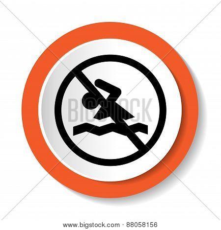 Round sign prohibiting swimming.