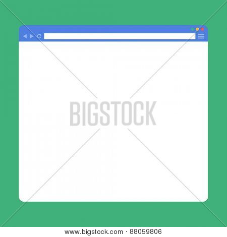 Flat blank browser window. Vector Template for your content