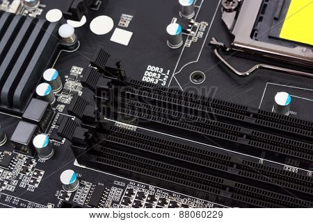 Electronic Collection - Digital Components On Computer Motherboard With Ram Connector