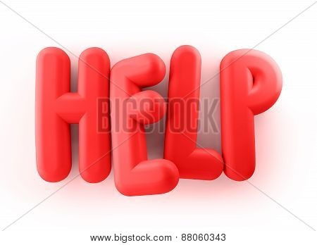 3D Rendered Illustration of Red Help Word Title Balloons