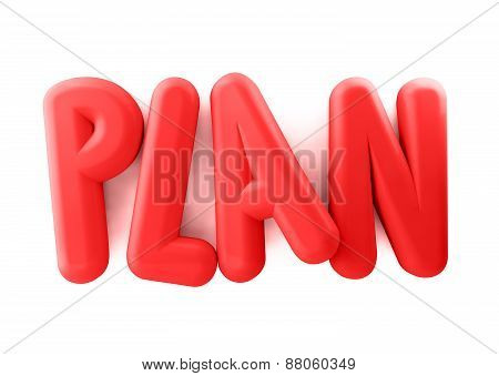 3D Rendered Illustration of Red Plan Word Title Balloons