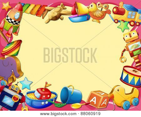 Banner with many types of toys