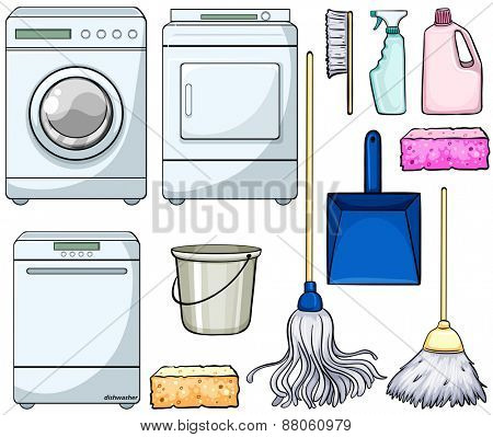 Different cleaning objects and machines