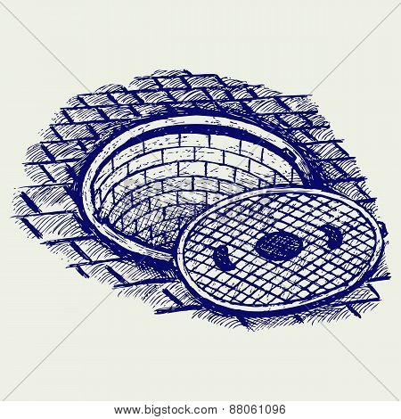 Opened street manhole