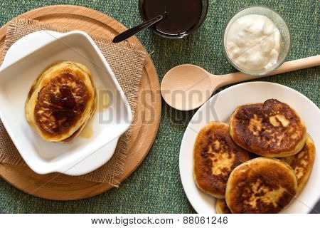 Pancakes With Jam And Sour Cream