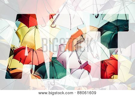 Word Art Over Colorful Umbrellas.