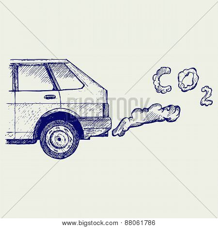 Close up of a car's fumes emissions in the traffic jam
