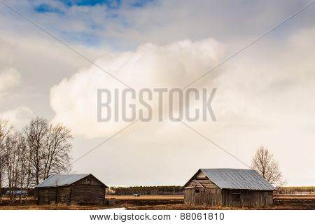 Barns Under The Spring Sky