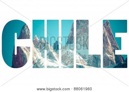 Word Chile Over Mountains.