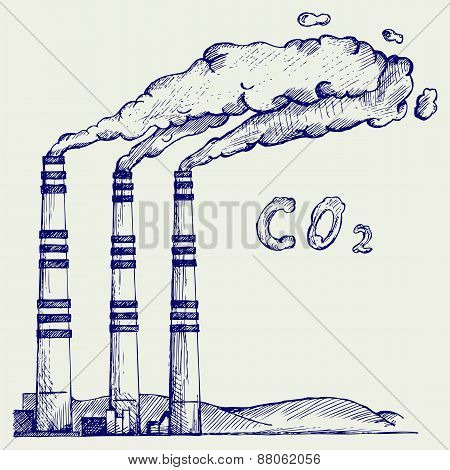 Emission from coal power plant. Co2 cloud