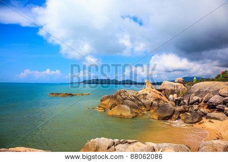 The group of stones on the beach of Lamai -